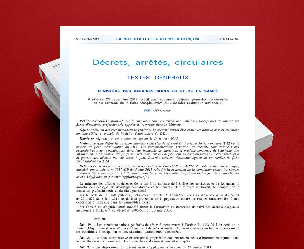 Arrêté du 21 décembre 2012 - fiche-recap DTA
